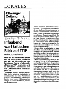 Presseartikel zum Infoabend mit TTIP-Gegner Herbert Löhr